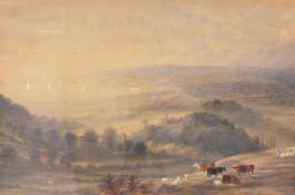 Clarke, AlfredIn hügeliger Landschaft weidende Kühe und Schafe(England 1873/74-1950) Aquarell.
