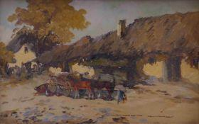 Ungarischer Maler des 20. JahrhundertsFuhrwerk vor einem BauernhofÖl/Holz. Rechts unten sign. 20 x