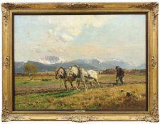 Strützel, OttoPflügender Bauer in Voralpenlandschaft(Dessau 1855-1930 München) Öl/Lwd. Rechts