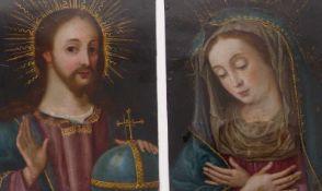 Pendants mit Salvator Mundi und Maria17. Jh.Öl/Kupfer. Je 17,2 x 14 cm; ungerahmt.