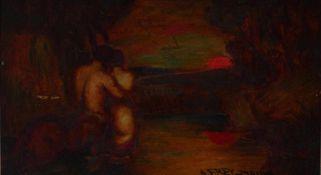 Frey-Moock, AdolfKentaur und Nymphe blicken in den Sonnenuntergang(Jona 1881-1954 Egnach) Öl/