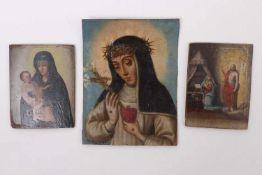 Drei kleine religiöse Darstellungen19. Jh.Heilige Katharina von Siena, Öl/Lwd., 18 x 13,7 cm.