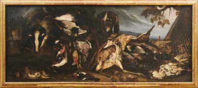 Vitali, CandidoPendants Jagdstillleben(Bologna 1680-1753) Jagdhunde vor auf Waldboden ausgelegter,