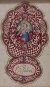 Spitzenbild der Hl. Elisabeth18. Jh.Hochrechteckige Form, in geschweiftem Bildausschnitt Darstellung