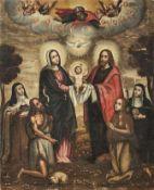 Die Heilige Familie18. Jh.In Landschaft stehend Maria und Joseph, die den Jesusknaben zum Himmel mit