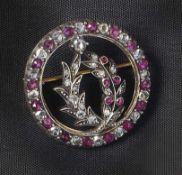 Rubin-Diamant-BroscheE. 19. Jh.Reif mit zwei innenliegenden Blütenzweigen, vollständig besetzt mit