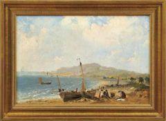 Französischer Landschaftsmaler des 19. JahrhundertsMittelmeerküste mit Booten, Fischern und Dorf