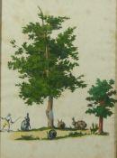 Ausschnittbild mit Hasen in baumbestandener Landschaft18. Jh.Radierung, koloriert, an den Umrissen