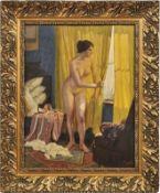 Zopf, KarlInterieur mit weiblichem Akt am Fenster(Neuruppin 1858-1944 München) Öl/Malplatte.
