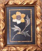 Kleines Pietra Dura-BildItalien, 19. Jh.Hochrechteckige Schieferplatte mit Darstellung einer