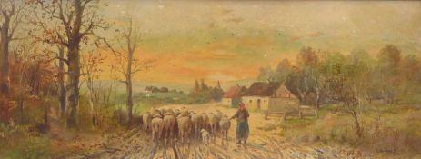 Bürger, Lothar MichaelSchäferin mit ihrer Herde auf einem Weg(Wien 1866-1943 Kirchstetten) Öl/