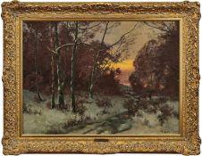 """Gogarten, Heinrich""""Winterabend im Walde""""(Linz 1850-1911 München) Öl/Lwd., doubl. Rechts unten sign.,"""