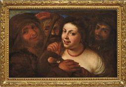 Musikanten mit junger FrauVenedig, 17. Jh.Eine Gruppe von dunkel gekleideten Musikanten umringt eine