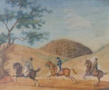"KulenzDrei Reiter in LandschaftThüringen, A. 19. Jh. Aquarell und Gouache. Verso ausführlich bez. """
