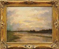 Pennazio, AugustoAbendstimmung am Fluss(Riva 1877-1900 Turin) Öl/Karton. Rechts unten sign. und bez.