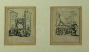 """Callot, JacquesZwei Szenen aus """"La petite Passion""""(Nancy 1592-1635 ebd.) Ecce homo und Kreuztragung."""