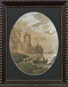 Meeresbucht mit Schiffen und Fischerboot im VollmondlichtFrankreich, 18. Jh.Gouache/Papier. Ca. 33,5