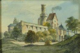 Blick auf die Altenburg in Bamberg von Nordwesten19. Jh.Aquarell. 11 x 16,5 cm; unter Glas ger.