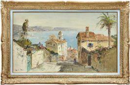 Blick auf die Bucht von Villefranche sur Mer20. Jh.Öl/Lwd. Links unten sign. 57 x 98 cm. - In