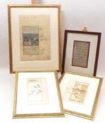 Vier Blatt indopersische MiniaturenPersien, 19./20. Jh.Zwei Illustrationen mit Jagddarstellungen auf