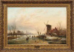 Spohler, Jan Jacob CoenraadEisvergnügen(Amsterdam 1837-1923 ebd.) Winterliche Landschaft mit