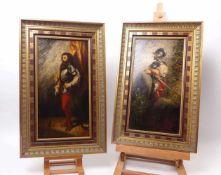Zwei LandsknechtdarstellungenUm 1900Öl/Holz. 41 x 22 cm.