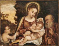 Tintoretto, Jacopo - UmkreisDie Heilige Familie mit dem JohannesknabenVenedig, um 1600. Öl/Holz,
