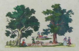 Ausschnittbild mit Jägern und Paar in baumbestandener Landschaft18. Jh.Radierung, koloriert, an