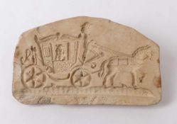 Backmodel18. Jh.Darstellung einer zweispännigen Kutsche mit Dame. Ton. 12 x 7,5 cm. - Altersspuren.