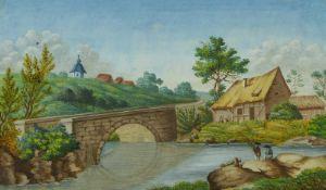 """Monogrammist """"A.v.C.""""Kleine Flusslandschaft mit AnglernUm 1800. Gouache. Rechts unten monogrammiert."""