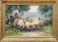 Zügel, Heinrich Johann vonSchafherde mit ihrem Hirten am Gatter(Murrhardt 1850-1941 München) Öl/Lwd.