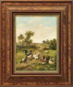 Lemaire, Louis-MarieHahn und Hühner auf einem Feldweg(Paris 1824-1910 ebd.) Öl/Lwd. Links unten