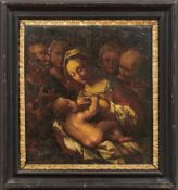 Maria lactans mit Josef und HeiligenBolognesische Schule des frühen 17. JahrhundertsÖl/Holz. Verso