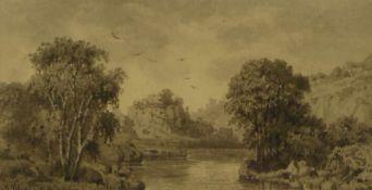 Schlegel, Friedrich AugustFlusslandschaft mit Burgruine(Heidersdorf 1828-1895 Dresden)