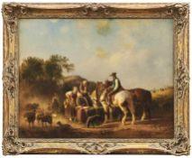 Braun, ReinholdZusammentreffen am Brunnen vor dem Dorf(Altensteig 1821-1884 München) Öl/Lwd., doubl.