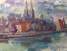 Preissl, RupertBlick auf den Dom in Regensburg(Eitlbrunn 1925-2003 Regensburg) Öl/Hartfaserplatte.