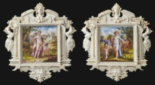 Zwei Miniaturen in ElfenbeinrahmenWohl Italien oder Dieppe, 19. Jh.Zwei Aquarelle auf Elfenbein