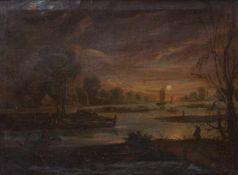 Fischerboote und Dorf im VollmondlichtNiederlande, fr. 19. Jh.Öl/Lwd. 27 x 36,5 cm. - Flickstelle,