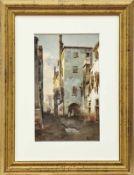 Brandeis, AntoniettaGasse in einer italienischen Stadt(Miskowitz/Böhmen 1849-1926 Florenz) Aquarell.