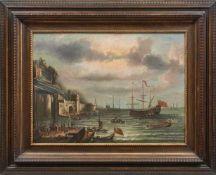 Grevenbroeck, Jan, gen. Il Solfarolo (Attrib.)Belebter Hafen einer befestigten, italienischen