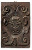 WappenkartuscheItalien, um 1700Rechteckige Platte mit Loch, von sechs Voluten umgebenes ovales,