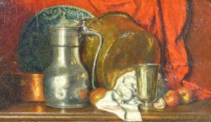 Pipard, CharlesStillleben(Versailles 1832-1916) Mit Zinn- und Kupfergefäßen, einem Fayenceteller und