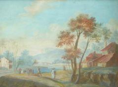 Südliche Landschaft mit Bauern bei ihrer Arbeit2. H. 18. Jh.Gouache. 11,5 x 16,5 cm; unter Glas