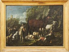 Roos, Cajetan (Attrib.)Zwei Hirten mit ihren Tieren in italienischer Ruinenlandschaft(Rom 1686/90-