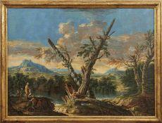 Locatelli, Andrea - Umkreis desItalienische Flusslandschaft mit Fischern am Ufer(Rom 1695-1741 ebd.)