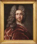 Bildnis eines vornehmen HerrenItalien, 18. Jh.Der Dargestellte mit Perücke und im roten Samtrock.
