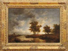 FlusslandschaftSchule von Barbizon, Frankreich, 19. Jh.Öl/Holz. 44 x 64,5 cm.