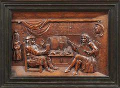 WirtshausszeneFlandern, 19. Jh.Rechteckiger Bildausschnitt mit fein geschnitzter Darstellung
