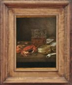 Stillleben mit Glas, Dose und MeeresfrüchtenHaarlemer Meister des 17. JahrhundertsÖl/Holz. 27,4 x 22