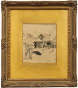 Thoma, HansLandschaft mit Schwarzwälder Bauernhaus und Paar(Bernau 1839-1924 Karlsruhe) Bleistift